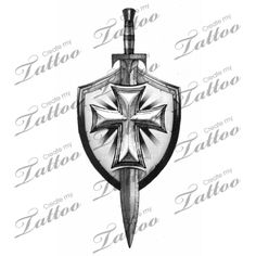 Grey Sword And Shield Tattoo Design                              …