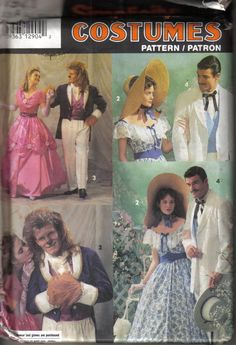 Simplicity Costumes Pattern 7971 Gone with the Wind Beauty and the Beast Men and…
