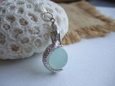 Sea glass codd marble mermaid necklace silver by TiliabytheSea