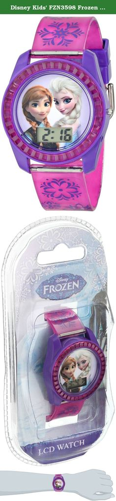 Disney Kids' FZN3598 Frozen Anna and Elsa Digital Watch with Purple Snowflake Band. Fronzen character on dial with printed jelly strap watch for young children. It is powered by quality-quartz movement so you can keep track of time accurately. A casual watch that match many outfits.