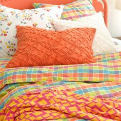 Cubix Candlewick Bedding. Orange you ready for a new look? Try this mix of checkered sheets, vintage-stitched shams, white sheets, and a graphic cotton throw. Find your Pine Cone Hill bedding ...at Mary's