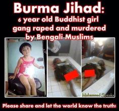 An Innocent 6 Years Old Buddhist Girl Gang Raped & Murdered By Muslims.