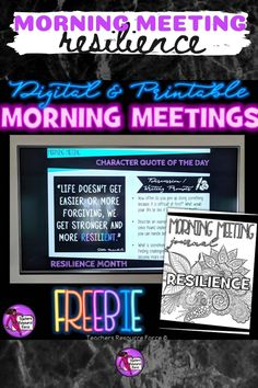 Character Education Morning Meeting Digital Whiteboard and Printable Journal freebie sample on RESILIENCE, ideal for social and emotional learning. This is 1 of a 10 part series that includes: resilience, courage, self-confidence, self-respect, tolerance, leadership, respect, empathy, honesty and compassion. High School Classroom, Classroom Ideas, Teacher Resources, Teaching Ideas, Citizenship Education, Responsive Classroom, Secondary Teacher, Core Curriculum, Character Quotes