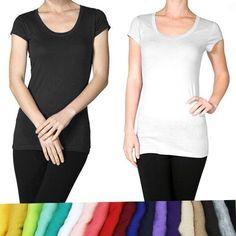 Basic Plain SCOOP ROUND NECK TEE Short Sleeve Stretch T-Shirt
