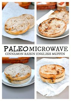 3 MINUTE Paleo Microwave Cinnamon Raisin English Muffin- With a vegan + GF option too! @thebigmansworld - thebigmansworld.com