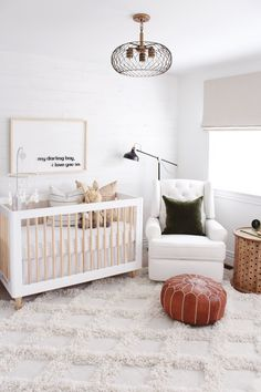 Modern Boho Gender Neutral Nursery Decor You can get detailed information about home inspiration. Baby Boy Nursery Room Ideas, Boho Nursery, Baby Bedroom, Baby Boy Nurseries, Kids Bedroom, Simple Baby Nursery, Baby Nursery Neutral, Nursery Modern, White Nursery
