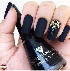 New Ideas for hair black nail art designs Black Nail Art, Black Nails, Matte Black, Image Nails, Blue Nail Designs, Nails 2018, Super Nails, French Nails, Nail Arts