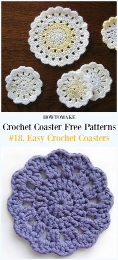 Easy Crochet Coasters Free Pattern - Easy #Crochet Coaster Free Patterns