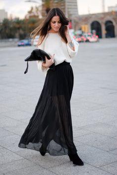 white top. black sheer maxi skirt.