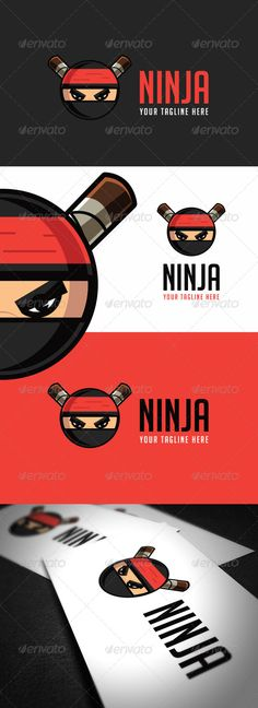 Ninja Logo Template by Logo Vector Resisable; Some color variation vector; Any questions you may have, please let me know. You can contact me and will b Vector Logo Design, Logo Design Template, Logo Templates, Ninja Logo, Ninja Party, Tmnt 2012, Abstract Logo, Kids Logo, Creative Icon