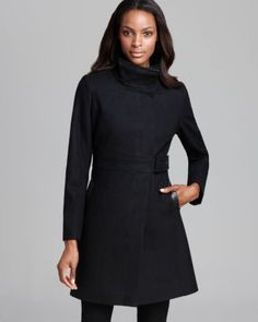 Via Spiga Coat - Belted Faux Leather Detail  Bloomingdale's