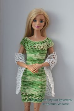 Crochet Dress made by Lilly Santiago Click Visit link abov Crochet Barbie Patterns, Crochet Doll Dress, Knitted Dolls, Barbie Clothes Patterns, Crochet Barbie Clothes, Clothing Patterns, Accessoires Barbie, Barbie Dress, Barbie Doll