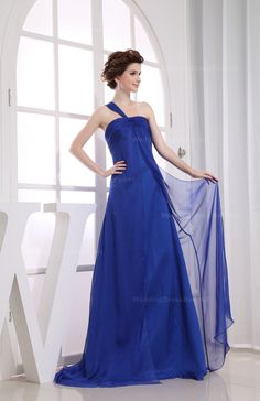Graceful One Shoulder Slitted Chiffon Dress