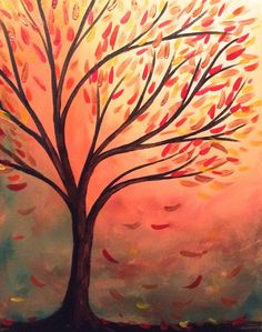 Autumn Leaves Tree Branches Beginner painting. #PaintOlathe