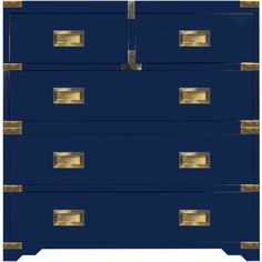 Selamat Designs Chiba Campaign Chest - Navy Lacquer (23.160 DKK) ❤ liked on Polyvore featuring home, furniture, storage & shelves, dressers, brass furniture, navy dresser, navy furniture, hardware furniture and british campaign furniture
