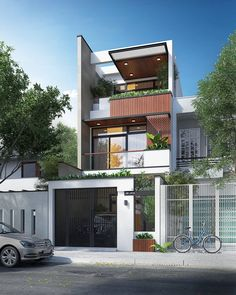 Best Ideas For Modern House Design & Architecture : – Picture : – Description Modern Home Design by the Urbanist Lab - House Front Design, Small House Design, Modern House Design, Facade Design, Exterior Design, Building Exterior, Building A House, Casas Containers, Townhouse Designs