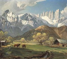 Shop for Valley Below the Snow Mountain' Oil on Canvas Art - Multi. Get free delivery On EVERYTHING* Overstock - Your Online Art Gallery Store! Lone Pine, California Art, Living In New York, And So The Adventure Begins, Mountain Landscape, Old Movies, The Great Outdoors, Scenery, Heaven
