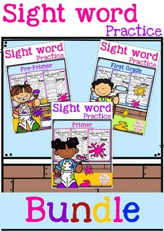 This bundle includes 131 pages of sight word practice. This product is perfect for Preschool, kindergarten and first graders. These sight word pages help children to learn sight word by reading, tracing, writing, coloring, finding and counting. These pages are also perfect for classroom activities, morning work, word work and literacy centers.