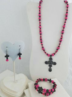 Pink and black beaded necklace with black cross, bracelet and earrings by KreationsbyFinch on Etsy