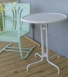 Vintage bistro table and Wheat Pattern Bouncer.All restored in Seafoam Green...www.retrovintagepatio.com