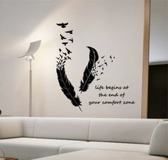 Feathers Turning Into Birds Vinyl Wall Decal Sticker Art Decor Bedroom Design Mural animals home decor living room LIFE BEGINS quote by StateOfTheWall. Wall Stickers Quotes, Wall Art Quotes, Wall Decal Sticker, Quote Wall, Vinyl Decals, Room Paint Colors, Paint Colors For Living Room, Wall Painting Decor, Art Decor