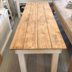 "8 foot long farmhouse table - 30"" wide.  Made from an old planked pine table top…"