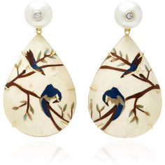 Silvia Furmanovich Marquetry Bird Pear Drop Earrings (216.385 RUB) ❤ liked on Polyvore featuring jewelry, earrings, accessories, silvia furmanovich, white, drop earrings, wooden earrings, white jewelry, white drop earrings and pear drop earrings