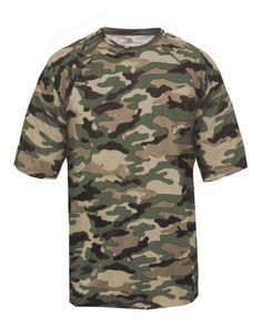 Badger 4181 - Camo Short Sleeve T-Shirt Seal Logo, Camo Shorts, Military Jacket, Military Uniforms, Badger, Youth, Hoodies, Lady, Tees