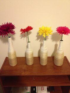Twine wine bottle vases!