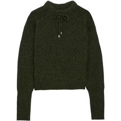 Topshop Unique Feldon wool and cashmere-blend sweater (£145) ❤ liked on Polyvore featuring tops, sweaters, woolen sweater, layered sweater, wool sweaters, green polka dot top and wool tops