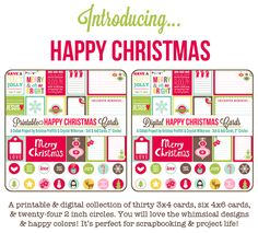 Happy Christmas Collection designed by Crystal Wilkerson (www.crystalwilkerson.com) and Kristina Proffitt (www.one-happy-mama.com). Perfect for Project Life, Traditional & Digital Scrapbooking, cardmaking and more!