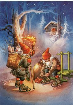 Gnomes making deliveries by ice skates