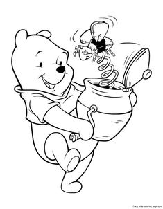 Coloring Pages For Kids Winnie The Pooh With HoneyFree Printable