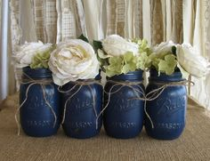 Mason Jars, Ball jars, Painted Mason Jars, Flower Vases, Rustic Wedding Centerpieces, Navy Blue Mason Jars