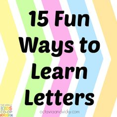 15 Fun Ways to Learn Letters - Octavia and Vicky Preschool Literacy, Early Literacy, Literacy Activities, Kindergarten, Learning Time, Toddler Learning, Childhood Education, Kids Education, Creative Teaching
