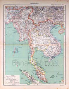 1893 Large French Antique Map of Indochina. $40.00, via Etsy.