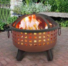 Landmann Garden Lights Savannah FIRE PIT & Poker Square Cutouts Georgia Clay