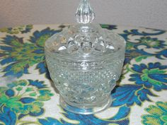 clear vintage lid glass with candy dishes