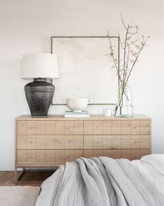 The decor and paint colors are soft and neutral in this gorgeous master bedroom belonging to design powerhouses, Studio McGee. Bedroom Photos, Home Bedroom, Master Bedrooms, Airy Bedroom, Bedroom Dressers, Bedroom Dresser Styling, Living Room Dresser, Living Rooms, Interiores Design