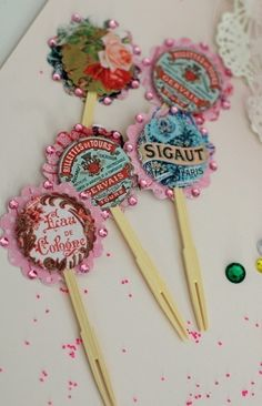 6  Shabby Chic French  Inspired Cupcake Toppers by Joosycardco, $6.25