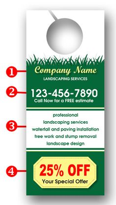Special Offer Lawn Care Door Hanger with coupon