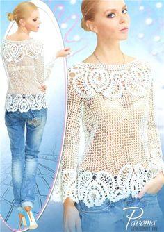Encaje de brujas | Blusa Crochet Irlandés | Pinterest