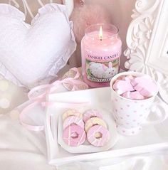 Pink candle, marshmallows and cookies...yes please!