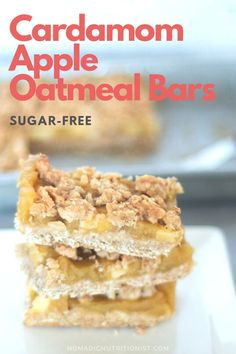 Cardamom apple oatmeal bars are easy to make with just handful of ingredients. These apple bars are sugar-free and gluten-free - delicious enough for dessert and healthy enough to have for breakfast! #cardamom #oatbars #applerecipe #ontarioapples #healthybreakfast Apple Bars, Oat Bars, Oatmeal Bars, Best Homemade Cookie Recipe, Cookie Recipes, Snack Recipes, Strawberry Recipes, Apple Recipes, Healthy Bars