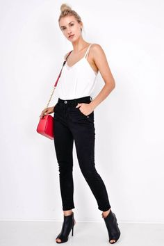Dámske čierne nohavice s vysokým pásom - Rouzit.sk Black Jeans, Pants, Fashion, Trouser Pants, Moda, Fashion Styles, Black Denim Jeans, Women's Pants, Women Pants