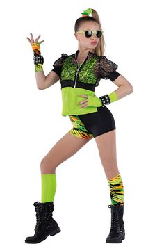 15361 Cool Like That   Hip Hop Funk Dance Costumes   Dansco 2015   Lime spandex top. Separate black sequined raschel knit and black spandex jacket with metal ring zipper front. Multi-color printed and solid black spandex shorts. Gloves, wristbands, socks and binding for hair included.