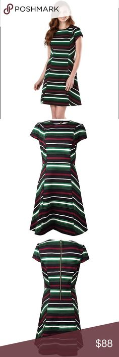 Michael Kors Palmetto Green Striped Dress Rich colors and high-impact stripes deliver modern character to this form-fitting fit and flare dress. Crafted from a soft-textured, lightweight fabric and cut with a slim fit that accentuates the female form, the minimalist silhouette is finished with a back zipper for a fuss-free fit every time. NWT. Never worn. Size runs large. Size 0 is more like US Size 4. I'm 5'5, 130lbs, 32DD and it fits perrrrfectly ✨ Michael Kors Dresses Midi