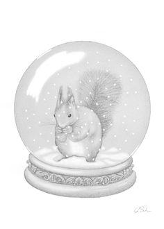 Zeichnung Eichhörnchen in Schneekugel. Bleistift, Graphit, Din A4.