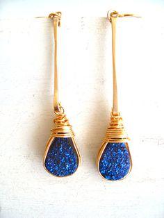Blue Druzy Stick Earrings 14K Gold filled Bling Sparkle Gift for her by Vitrine