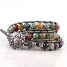 Multicolor Gemstone Wrap Bracelet Gray Leather Winter Fashion Boho Style Triple Wrap Green Red Fancy Jasper